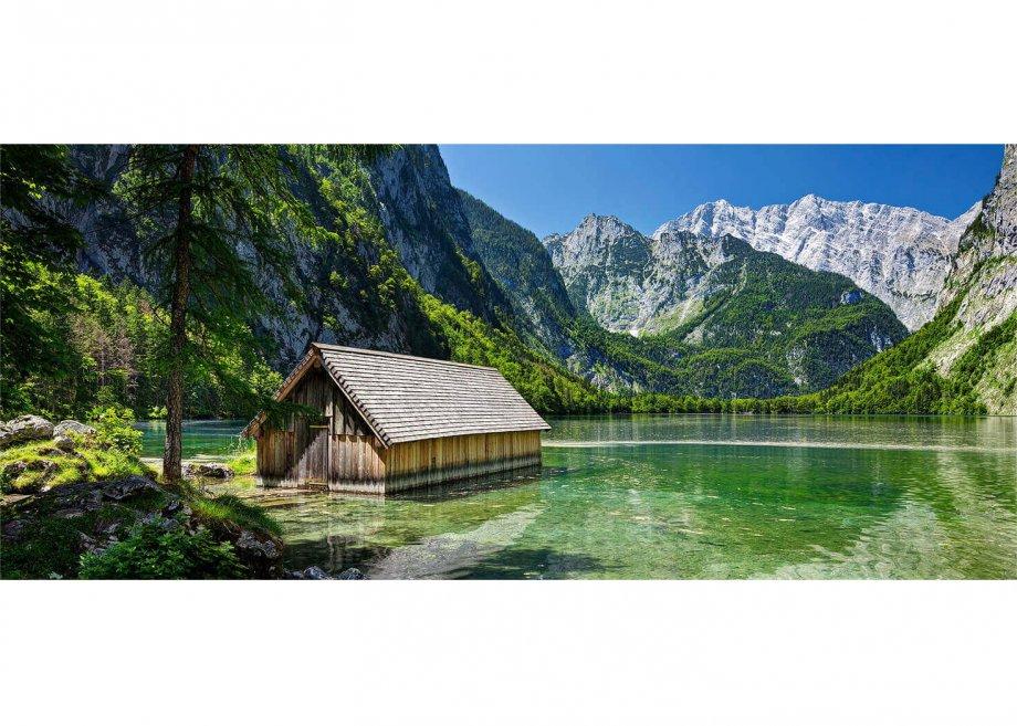 Fischerhütte am Obersee beim Königssee gegen Watzmann (2713m), Berchtesgaden, Oberbayern, Bayern, Deutschland