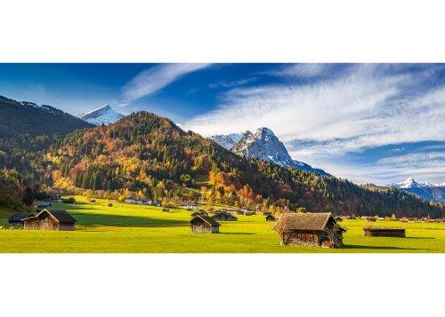 Blick zur Zugspitzgruppe (2962m), Garmisch-Partenkirchen, Oberbayern, Bayern, Deutschland Bayerische Alpen, Werdenfelser Land, Zugspitze (2962m), Alpspitze (2628m)