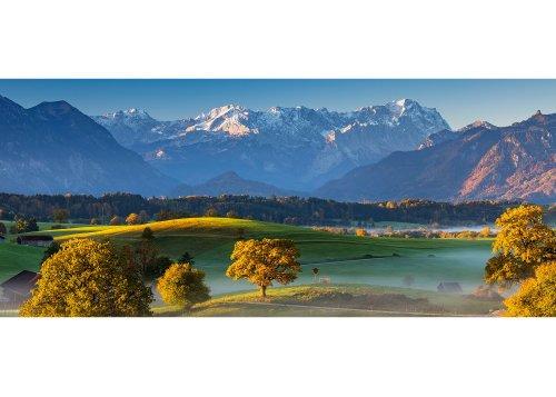Landschaft bei Aidling am Riegsee, bei Murnau am Staffelsee mit Wettersteingebirge, Oberbayern, Bayern, Deutschland