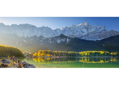 Morgen am Eibsee mit Wettersteingebirge und Zugspitze (2962m) bei Grainau, Oberbayern, Bayern, Deutschland