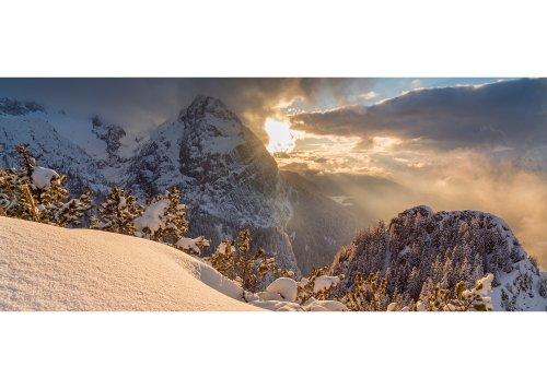 Blick vom Kreuzeck zum Waxenstein im Sonnenuntergang, Garmisch-Partenkirchen, Oberbayern, Bayern, Deutschland