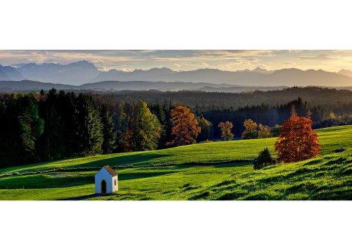 Blick von Faistenberg zum Wettersteingebirge und den Ammergauer Alpen, Oberbayern, Bayern, Deutschland