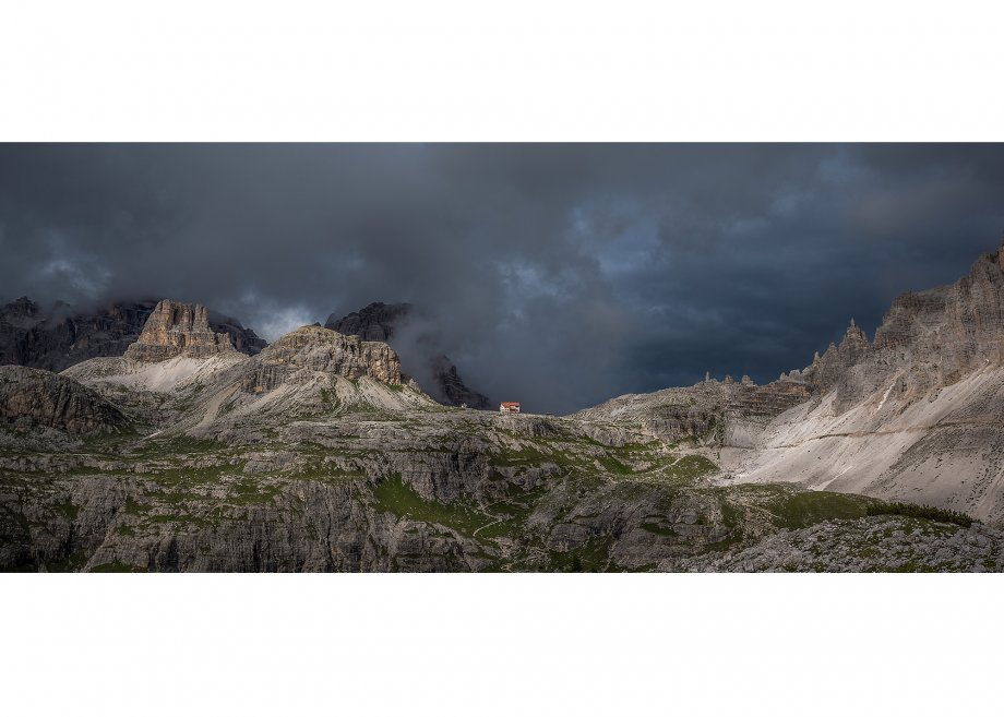 Blick zur Dreizinnenhütte, Sextner Dolomiten, Provinz Bozen, Trentino-Südtirol, Italien, Pustertal, Val Pusteria, Pustertal, Provinz Bozen, Alto Adige