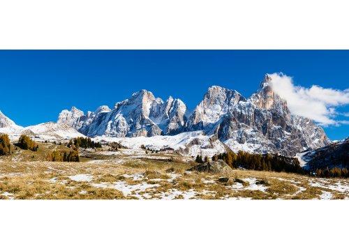 Rollepass gegen Palagruppe mit Cimon della Pala (3184m), Provinz Trient, Dolomiten, Trentino-Südtirol