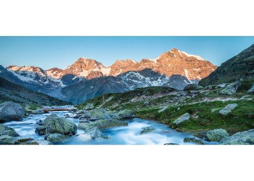 Zaytalbach vor Königsspitze (3851m), Monte Zebrù (3735m) und Ortler (3905m), Vinschgau, Provinz Bozen, Trentino-Südtirol