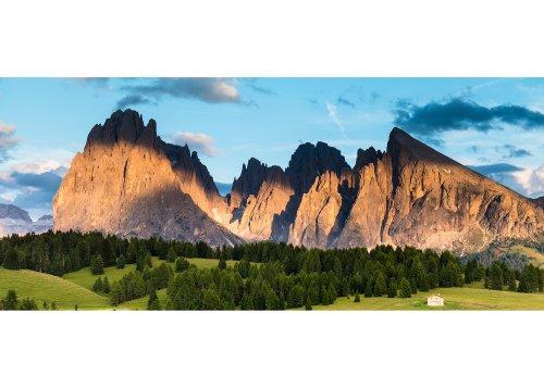Langkofelgruppe mit Langkofel (Sassolungo 3181m) und Plattkofel (Sassopiatto 2969m), Seiser Alm, Dolomiten