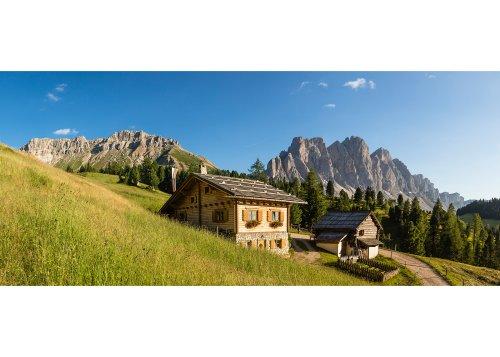 Blick von der Malga Caseril (Kaserill Alm) zur Geislerguppe (3025m), Villnöss, Villnösstal, Provinz Bozen, Trentino-Südtirol, Italien