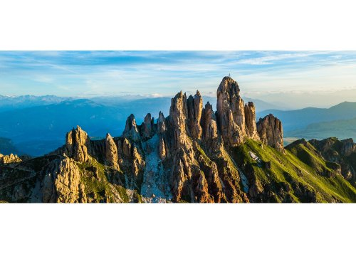 Gipfel des Denti di Terrarossa (Pferdezähne) bei Sonnenaufgang
