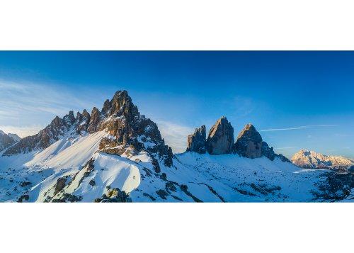 Winterlicher Sonnenaufgang Drei Zinnen Südtirol Italien