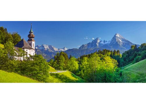 Wallfahrtskirche Maria Gern mit dem Watzmann bei Berchtesgaden